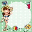 A girl wearing a bikini with a hat - Stock Vector