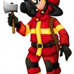 A fireman holding an axe — Stock Vector