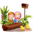 The two girls and the ducklings near the mailbox - Stock Vector