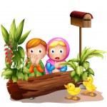 两个女孩和雏鸭附近的邮箱 — 图库矢量图片
