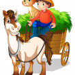 Stock Vector: Young boy with horse and cat