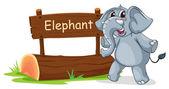 Eine hölzerne tafel mit einem grauen elefanten — Stockvektor