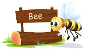 A wooden signboard with a flying bee — Stock Vector