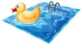 A toy duck at the pool — Stock Vector