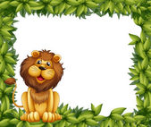 An empty leafy frame with a lion — Stock Vector