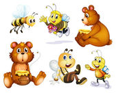 Two bears and four bees — Stock Vector