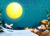 A man hunting an animal — Stock Vector
