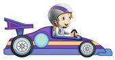 A girl in a racing car — Stock Vector