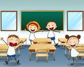 Kids rehearsing inside the classroom — Stock Vector