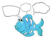 A blue fish with empty callouts — Stock Vector