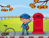 A mailboy beside a mail box — Stock Vector