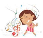 A little girl dancing with musical notes — Stock Vector
