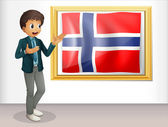 A boy standing beside the flag of Norway — Stock Vector