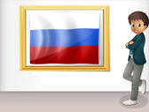 A man beside the framed flag of Russia — Stock Vector