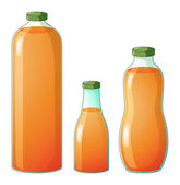 Three different sizes of bottles with orange juice — Stock Vector