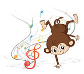 A monkey dancing with musical notes — Stock Vector
