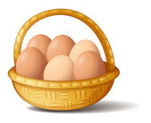 A basket with six eggs — Stock Vector