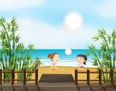 Two young girls playing volleyball at the beach — Stock Vector