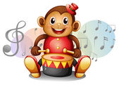 A monkey playing with the drum — Stock Vector