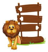 Ein löwe neben der hölzernen arrowboards — Stockvektor