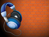 A headset beside the wall — Stock Vector