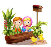 The two girls and the ducklings near the mailbox — Stock Vector