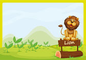 A lion at the top of a wooden signboard — Stock Vector