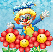A clown at the back of the three lovely flowers — Stock Vector