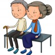 An old couple dating - Stock Vector