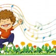 Stock Vector: A boy singing out loud with musical notes