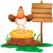 A chicken with a nest above a trunk near a signage — Stock Vector