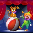 A tiger and a clown performing at the stage — Stock Vector #22023507
