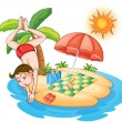 A boy diving at the beach - Stock Vector