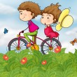 A bike with a girl and a boy — Stock Vector