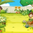 Stock Vector: A boy and a girl hiding in the garden
