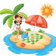 Royalty-Free Stock Vector Image: A girl at the beach under the scorching heat of the sun