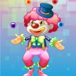 Royalty-Free Stock Vektorový obrázek: A clown with four colorful balls