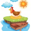 A chicken hatching eggs in an island — Stock Vector