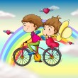 Lovers riding in a bike near the rainbow — Stock Vector #22023631