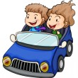 A boy and a girl riding a car — Stock Vector