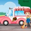 Stock Vector: A boy and his cat near a pink bus