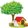 A white puppy beside a doghouse under a big tree — Stock Vector