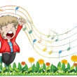 Stock Vector: A boy singing at the garden