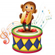 A monkey above a drum with cymbals — Stock Vector