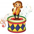 A monkey above a drum with cymbals — Stock Vector #22023685