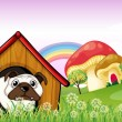 Royalty-Free Stock Vector Image: A bulldog in the doghouse near the giant mushrooms