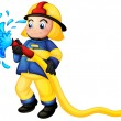 Royalty-Free Stock Vector Image: A fireman holding a yellow water hose