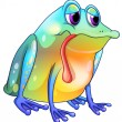 A colorful sad frog — Stock Vector