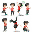 Different activities of a young boy — Stock Vector