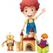 A boy waving his hand with toys - Imagen vectorial